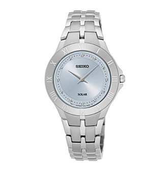 Seiko® Women's Recraft Solar Silvertone Watch with Light