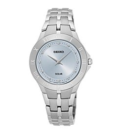Seiko® Women's Recraft Solar Silvertone Watch with Light Blue Dial