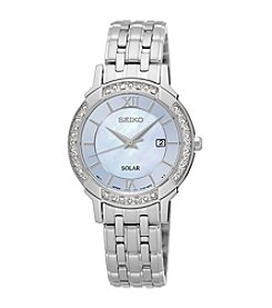 Seiko® Women's Solar Silvertone Watch with Mother-of-Pearl Dial and Diamond Accents