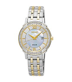 Seiko® Women's Solar Two-Tone Watch with Mother-of-Pearl Dial and Diamond Accents