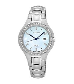 Seiko® Women's Solar Silvertone Watch with Swarovski® Crystal Accents