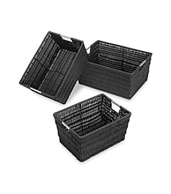 Whitmor® Set of 3 Black Rattique Storage Baskets