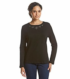Studio Works Petites' Long Sleeve Crew Neck Tee