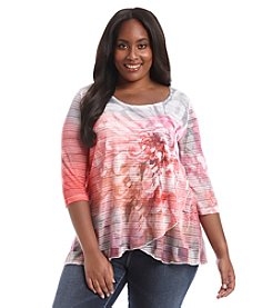 Oneworld® Plus Size Floral Print Layered Top