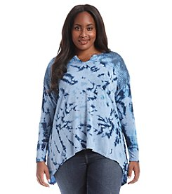 Oneworld® Plus Size Tie Dye Notch Neck Top