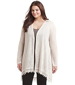 Living Doll Plus Size Crochet Trim Cardigan