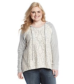 Eyeshadow® Plus Size Lace Fleece Hoodie