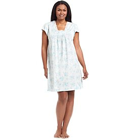 Miss Elaine® Plus Size Printed Short Sleeve Night Gown