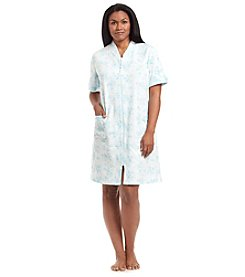 Miss Elaine® Plus Size Printed Zip Up Robe