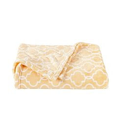 LivingQuarters Luxe Yellow Trellis Plush Throw