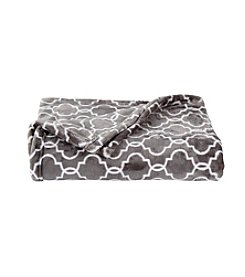 LivingQuarters Grey Trellis Luxe Plush Throw