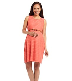 Three Seasons Maternity™ Sleeveless Crochet Belted Dress