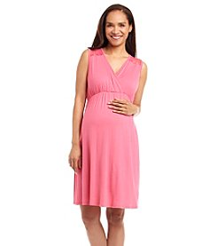 Three Seasons Maternity™ Sleeveless Surplice Lace Yoke Dress