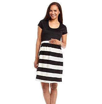 Three Seasons Maternity® Short Sleeve Solid Top Stripe Skirt Dress plus size,  plus size fashion plus size appare