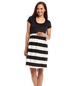 Three Seasons Maternity® Short Sleeve Solid Top Stripe Skirt Dress
