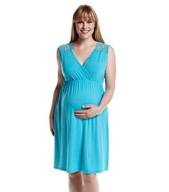 Three Seasons Maternity™ Plus Size Sleeveless Surplice Lace Yoke Dress