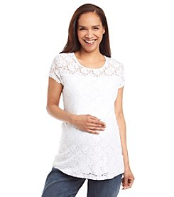 Three Seasons Maternity™ Short Sleeve Lined Lace Top