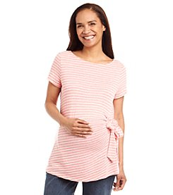 Three Seasons Maternity™ Short Sleeve Stripe Side Tie Top