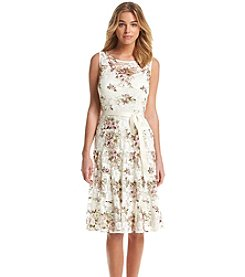 S.L. Fashions A-Line Floral Lace Dress