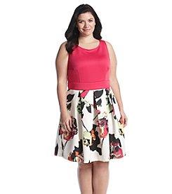 Gabby Skye® Plus Size Scuba Floral Skirt Dress
