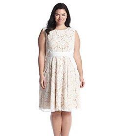 Gabby Skye® Plus Size Lace Pintuck Waist  Dress