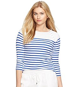 Lauren Ralph Lauren® Plus Size Striped Lace-Up Top