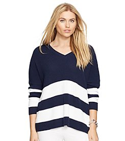 Lauren Ralph Lauren® Plus Size Draped Striped Cotton Sweater