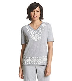 Alfred Dunner® Santa Clara Scroll Beaded Yoke Knit Top