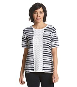 Alfred Dunner® Costa Allegra Chevron Stripe Sweater