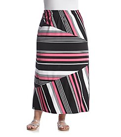 Notations® Plus Size Stripe Splice Panel Skirt