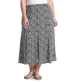 Notations® Plus Size Polka Dot Skirt