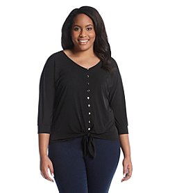 Notations® Plus Size Solid Button Front Top
