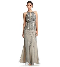 Adrianna Papell® Beaded Keyhole Halter Dress