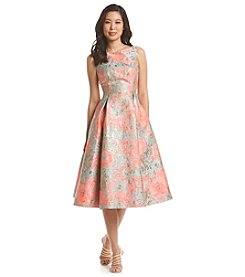 Adrianna Papell® Midi Sleevless Jacquard Patterned Dress