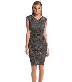 Calvin Klein Textured Side Broach Sheath Dress