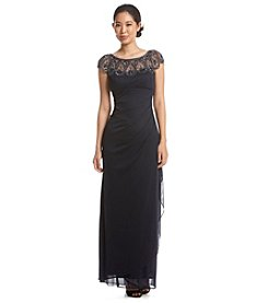 Xscape Beaded Illusion Neckline Gown