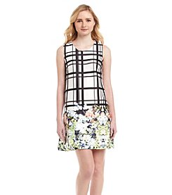 Jessica Simpson Plaid And Floral Ponte Dress