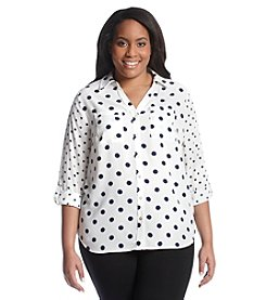 Relativity® Plus Size Printed Y-Neck Blouse