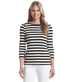 Cable & Gauge® Boatneck Stripe Tee