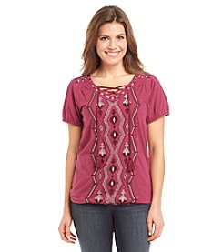 Ruff Hewn Petites' Embroidered Lace Up Top