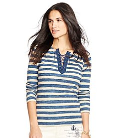 Lauren Jeans Co.® Stripe Long Sleeve Top
