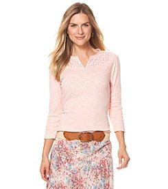 Chaps® Lace-Trimmed Cotton Shirt