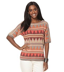 Chaps® Southwestern Bateau-Neck Sweater