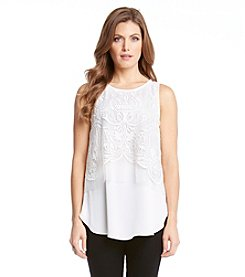 Karen Kane® Embroidered Mesh Tank