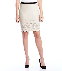 Karen Kane® Scalloped Faux Suede Skirt