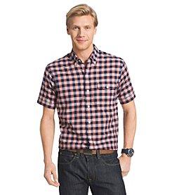 Izod® Men's Short Sleeve Chambray Buffalo Plaid Button Down Shirt