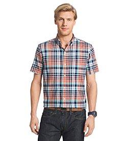 Izod® Men's Short Sleeve Woven Chambray Large Plaid Button Down Shirt