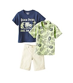 Nannette® Boys' 2T-7 3-Piece Pineapple Printed Shirt, Tee, And Shorts Set