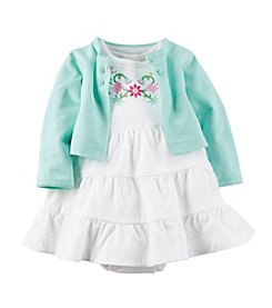 Carter's® Baby Girls' Floral Embroidered Dress And Mint Cardigan