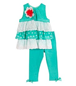 Rare Editions® Baby Girls' Tiered Eyelet Top With Leggings